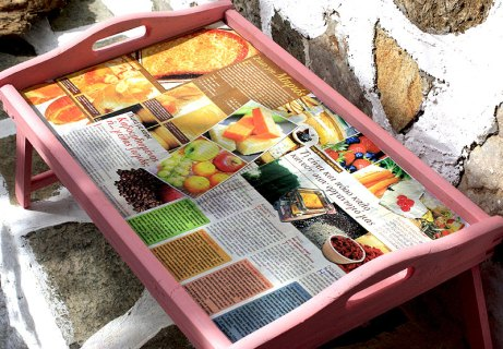 refresh an old tray with decoupage